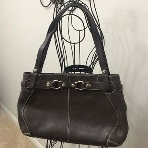 Kate Spade brown double strap leather handbag